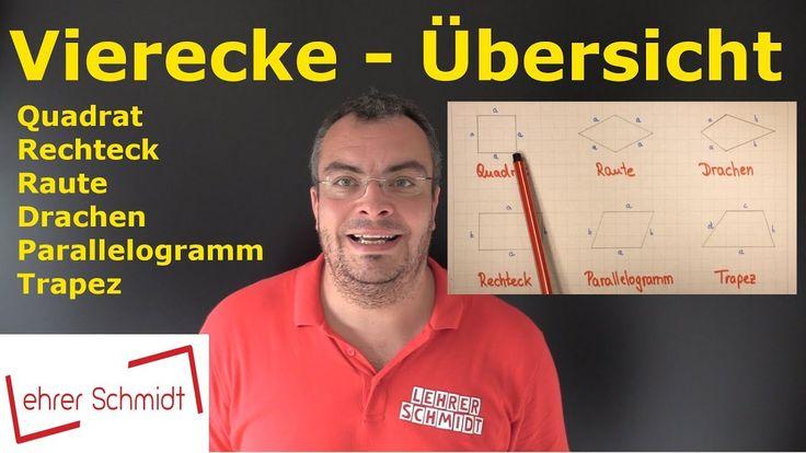 Vierecke - eine Übersicht, Mathematik, Geometrie, einfach erklärt