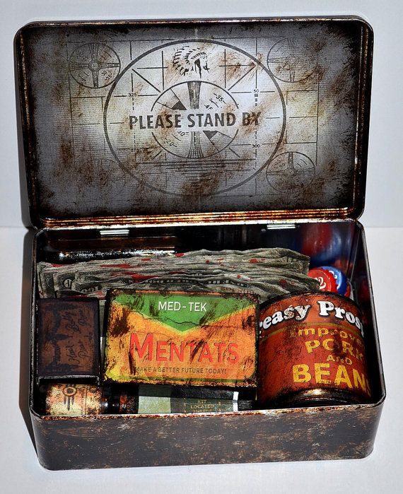 Easy to try and remake it. Bottlecaps repainted, old liquor bottle with label printed out, ammo box printed out, bobby pin box printed out, slap a printed out label on a small can, same for the nuka cola..only energy drink. Money printed out and aged. All in a tin.