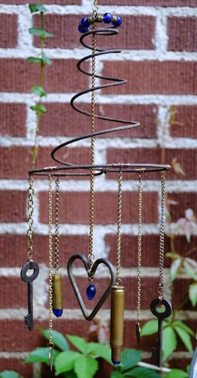 Whimsical Heart and Key Garden Wind Chimes.