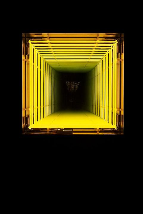 Ivan Navarro Try, 2010 neon lights, wooden box, paint, plexiglas, mirror, one-way mirror and electric energy 33 x 33 x 7 inches - Paul Kasmin Gallery
