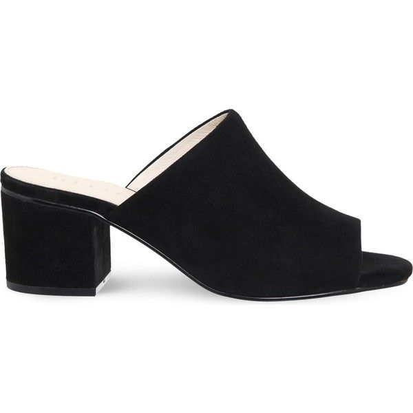 OFFICE Madness block heel suede mule sandals ($49) ❤ liked on Polyvore featuring shoes, sandals, black suede, black suede sandals, black mules, block heel sandals, black open toe mules and black shoes