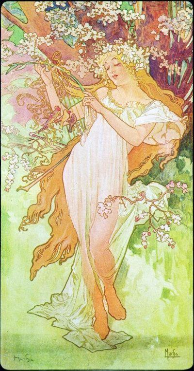 Spring by Alphonse Mucha Art Nouveau