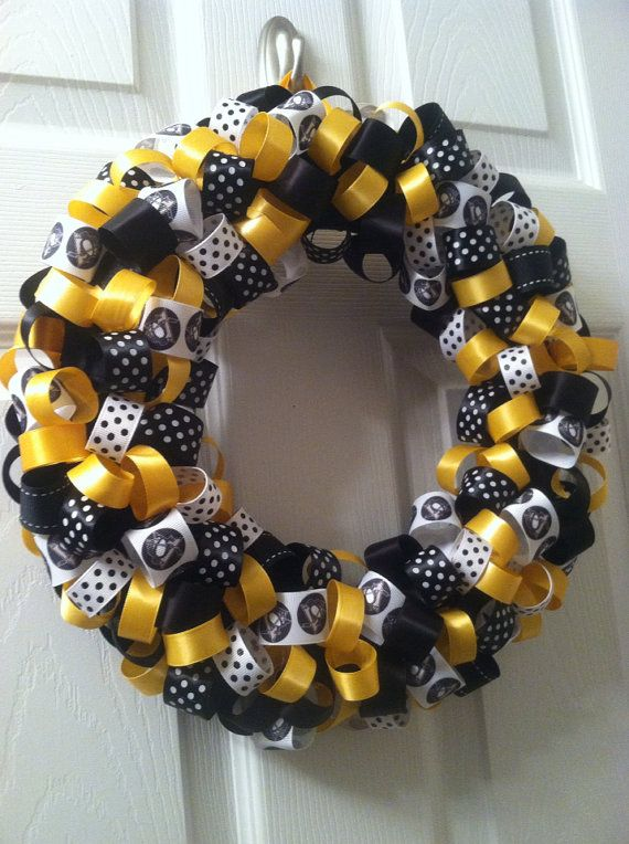 Pittsburgh Penguins Ribbon Wreath Hockey by FromTheCoast2TheCity, $40.00