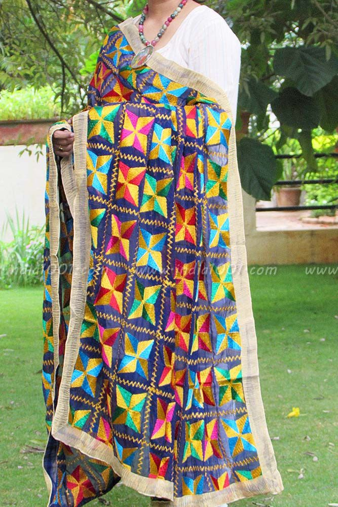 Designer Embroidered Phulkari Work Dupatta | India1001.com