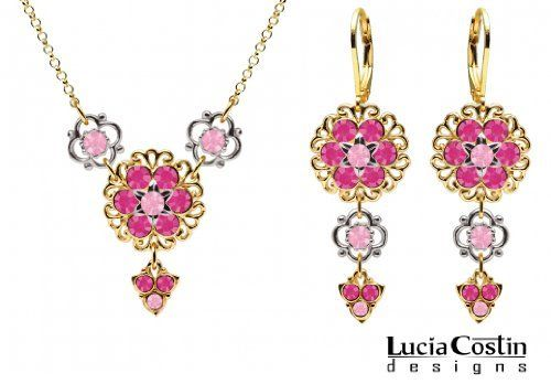 Trendy Jewelry Set: Necklace and Earrings by Lucia Costin Made of 14K Yellow Gold over .925 Sterling Silver with Lace Details, Light Pink and Fuchsia Swarovski Crystals, Set with Sterling Silver Flower Elements and Lovely Charms Lucia Costin. $129.00. Style takes wings in this lovely jewelry set that have a graceful flower shape. Decorated with light rose and fuchsia Swarovski crystals. Splendid combination of dangle elements. Handmade in USA unique jewelry set....
