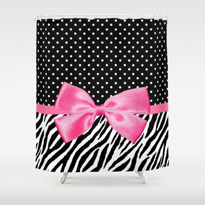 Trendy Zebra Print And Polka Dots With Hot Pink Ribbon Shower Curtain