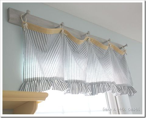 Make Valance From Some Ticking, Grommets And A Bit Of Rope For The Rings  With · Cute CurtainsLaundry Room CurtainsNautical ...