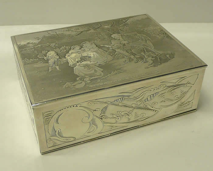 Antique silver cigar box, for guy time