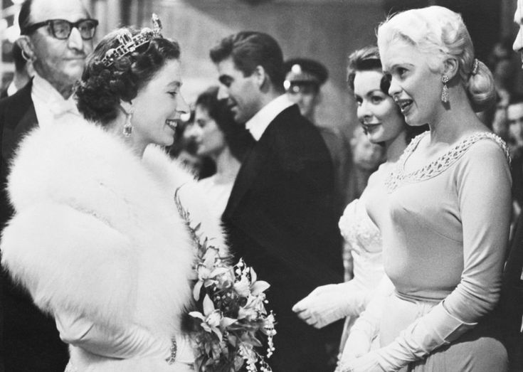 """Jayne Mansfield.....The Queen is thinking """"hmmm the girls really are big in person as they appear on the tele"""""""