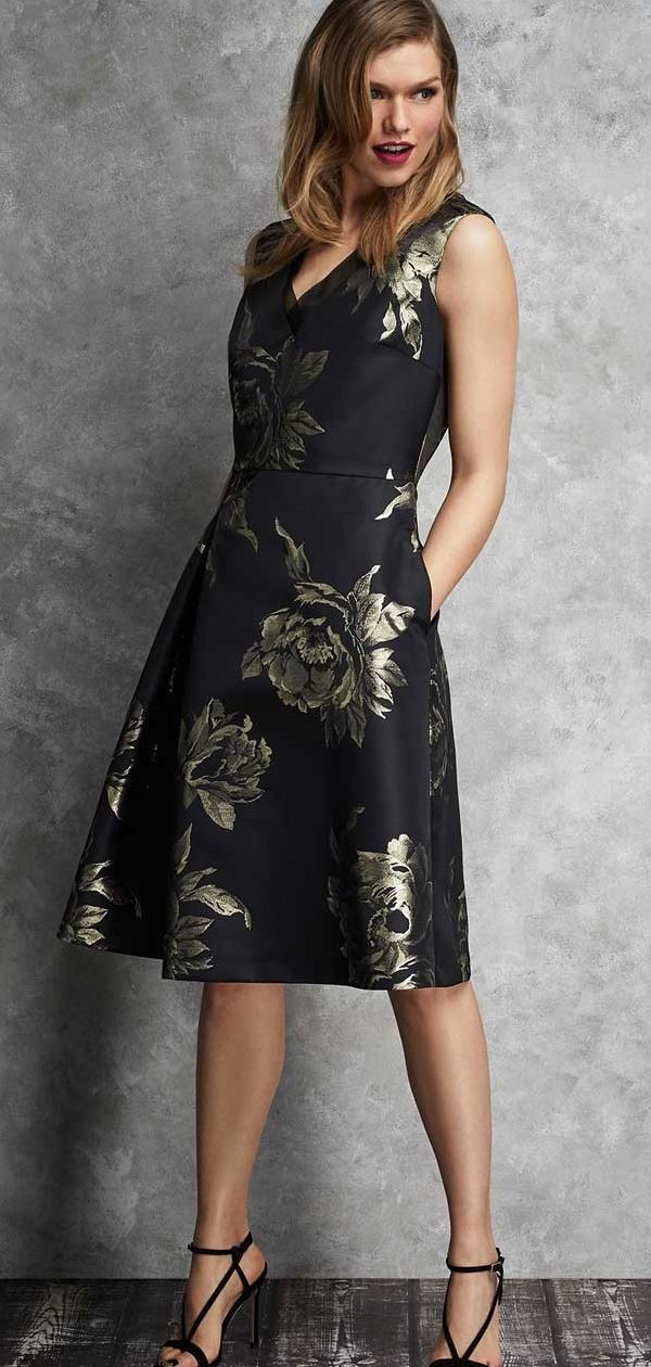 Black Gold Jacquard Dress What To Wear To A Winter Wedding Winter Wedding Guest Outfit Ideas Wedding Guest Outfit Guest Outfit Simple Elegant Wedding Dress