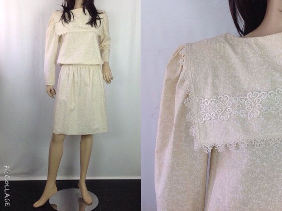 GUNNE SAX Saks Fifth Avenue Prairie Dress Lace Collar Blousson Top Puff Sleeve Tiny Liberty Floral Neutral Dress Summer Spring Fall 7 S M