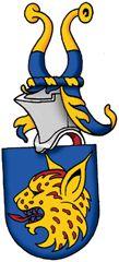 SV-45 Mikael Lostedt, Glumslöv   Registrerat 2009-02-17.   (Ansökan 2007:55)       Sköld: I blått ett avslitet lodjurshuvud av guld med röda fläckar och röd beväring.       Hjälmtäcke: Blått fodrat med guld.       Hjälmprydnad: Två vesselhorn delade i guld och blått.