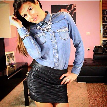 Jeans and leather