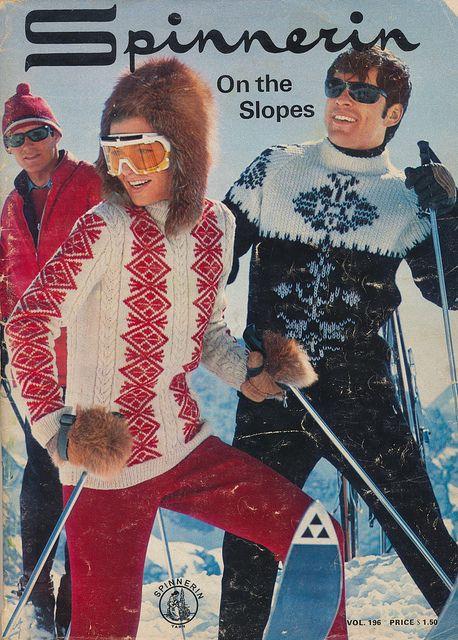 Vintage ski - knitting pattern from Spinnerin Yarn