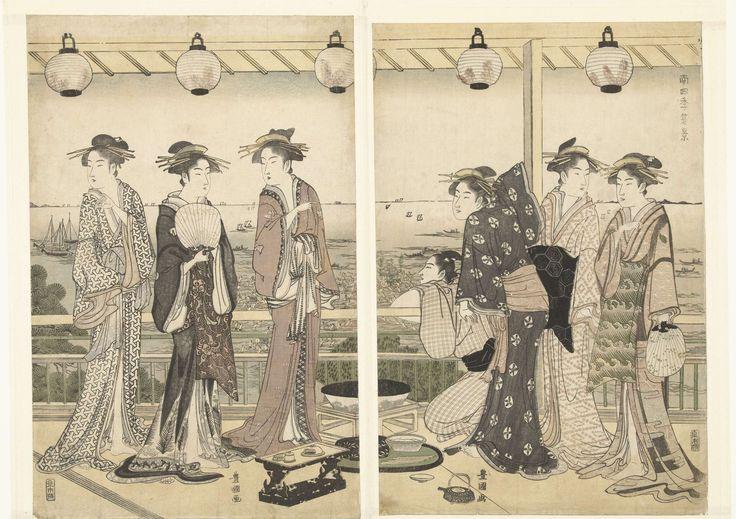 Toyokuni (II) , Utagawa | Zomer tafereel, Toyokuni (II) , Utagawa, Izumiya Ichibei (Kansendo), 1785 - 1790 | Zes courtisanes en een jongeman, over ballustrade hangend, in kamer van theehuis met uitzicht over baai waar mensen, slaand op grote trommels, een Shinto heiligdom door het water duwen.