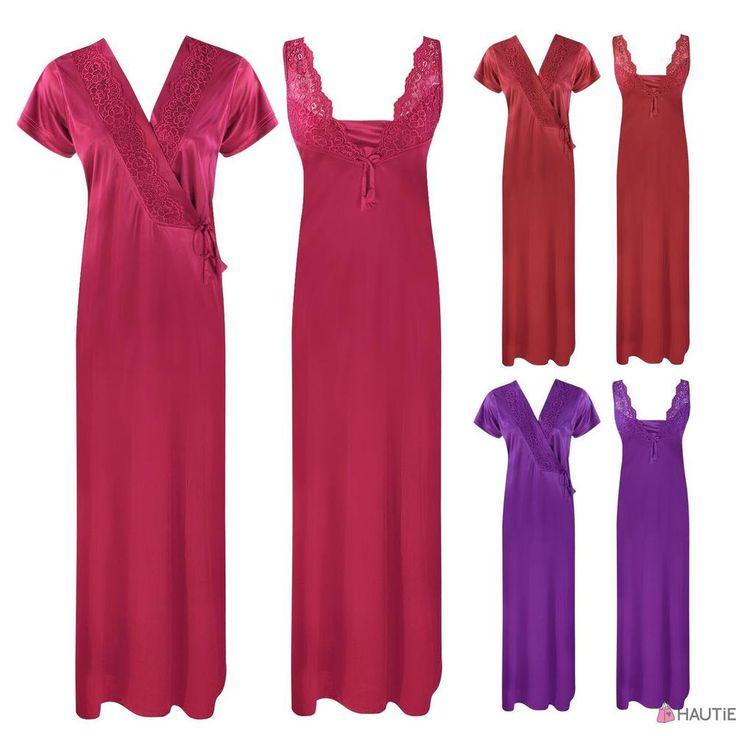 Women Luxury Nightdress Satin Lace Kimono Sleepwear Dressing Gown Robe Nighty 2