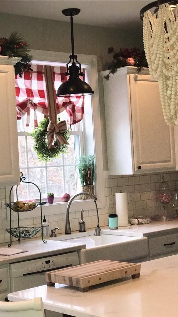 1 Red And White Buffalo Check Tie Up Shade Designer Valance Plaid Valance Modern Home Decor Nursery Decor Kitchen Curtain Red White Kitchen Decor Home Decor Kitchen