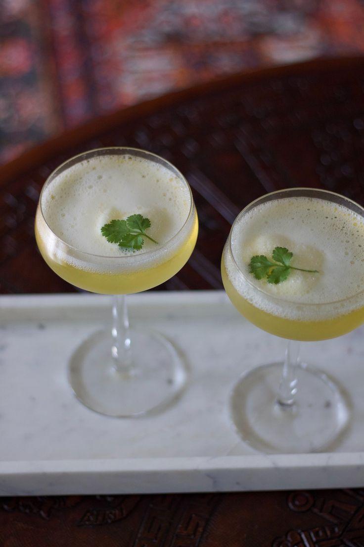Prosecco & lemon sorbet drink.