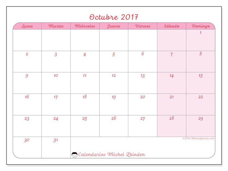 Gratis! Calendarios para octubre 2017 para imprimir