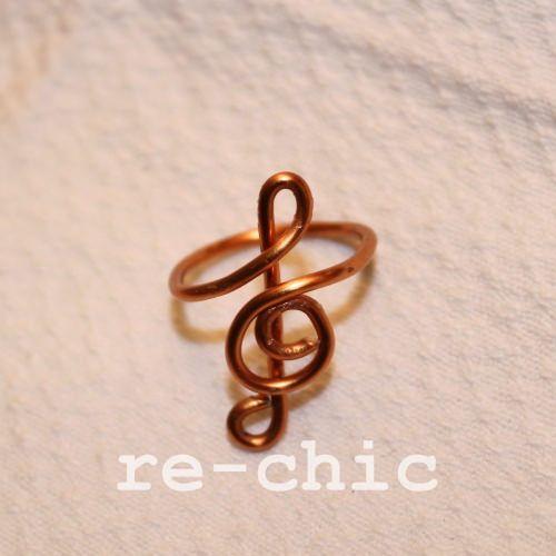https://flic.kr/p/S1nCAX | Chiave di violino | Handmade treble clef copper wire ring Anello in rame con chiave di violino