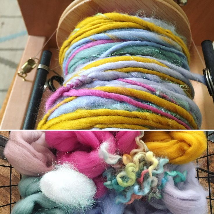 A before and after. Merino, angelina sparkle and hand dyed mohair locks