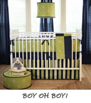 See this CUTE Nursery with a Lime Green and Navy Blue Baby Boy Crib Bedding Set HERE
