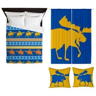 Moose Duvet cover + Yellow Dot Curtains + 2 cushion covers by sparkheadkids.com