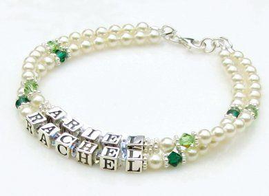 Mothers Bracelet ~ Swarovski® Cream Pearls & Birthstone Crystals by Aqua Moon Keepsakes