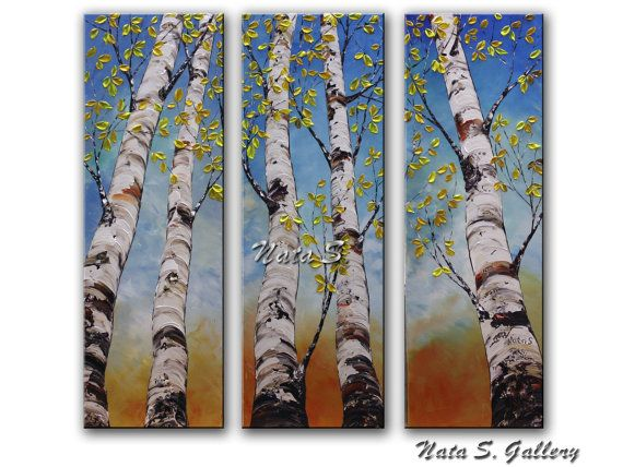 Abedul árbol pintura tríptico pared Arte Original por NataSgallery