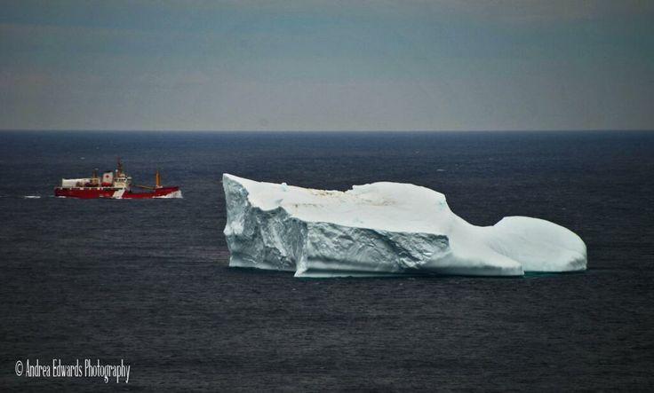 CCGS Edwards Cornwallis passes by #Iceberg outside Horrid Gulch near Pouch Cove #Newfoundland #CoastGuard