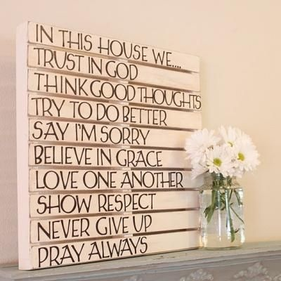 Train your kids with 'words of life' decorating. Love this one.: Pallets Art, Pallets Wall, Diy Craft, Diy Wall Art, Pallets Ideas, In This House, Wood Pallets, Houses Rules, Families Rules