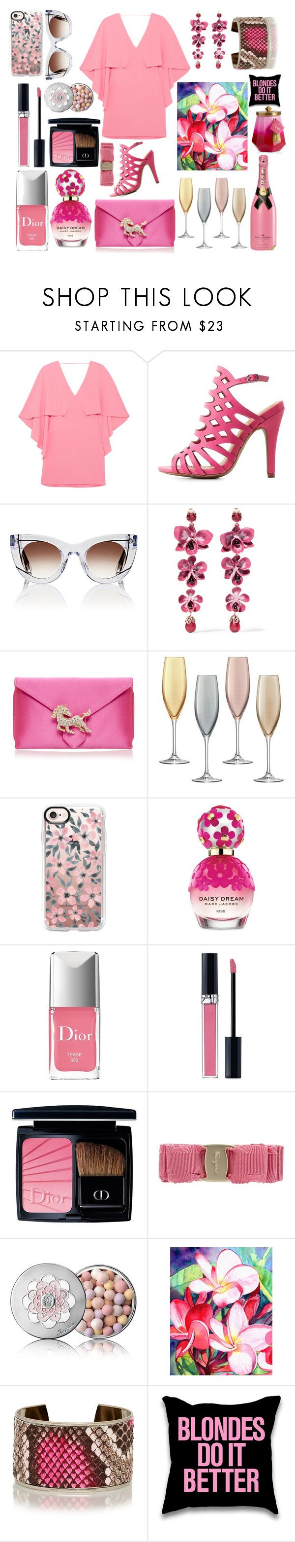 """""""Pinks are a no - brainier!!"""" by pulseofthematter ❤ liked on Polyvore featuring Halston Heritage, Charlotte Russe, Thierry Lasry, Etro, Wilbur & Gussie, LSA International, Casetify, Marc Jacobs, Christian Dior and Salvatore Ferragamo"""