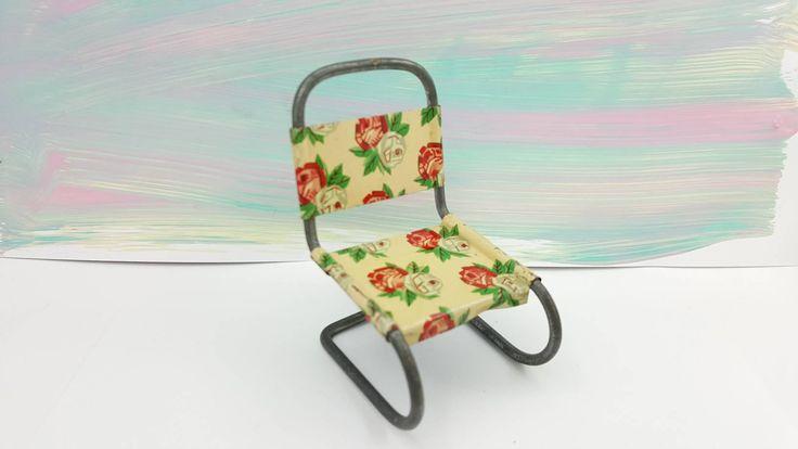 Art Deco Metal tin Litho kitchen chair rose pattern #dollhouseminiatures #tinlithograph #furniture