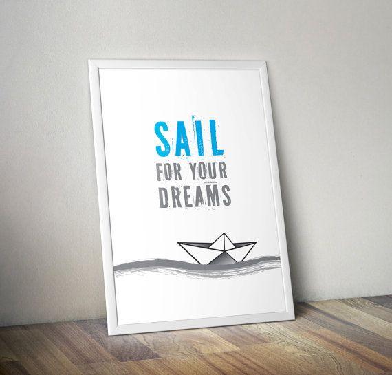 Sail For Your Dreams nursery art wall art decor by OrangeKiteLabs