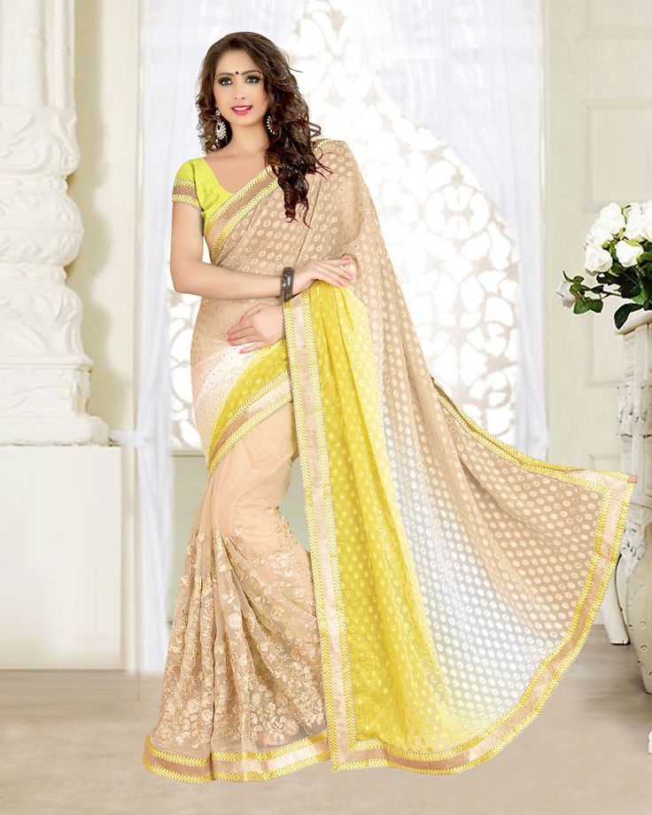 Beige Georgette Jacquard Wedding Saree 63538  #WeddingSarees #OnlineShopping