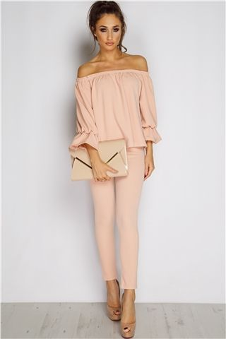 Megan McKenna Nude Frill Off The Shoulder Set at misspap.co.uk