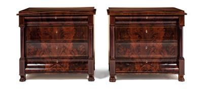 Rare pair of Biedermeier chests of drawers, Berlin circa 1820. Mahogany-veneered pine chests of drawers, with marquetry bands in maple, with carved paw feet, architectural style fronts, fully shaped columns at the angles and 4 drawers. Each 83 x 90.5 x 54.5 cm. Wien, Dorotheum, 22.04.15, no. 558.