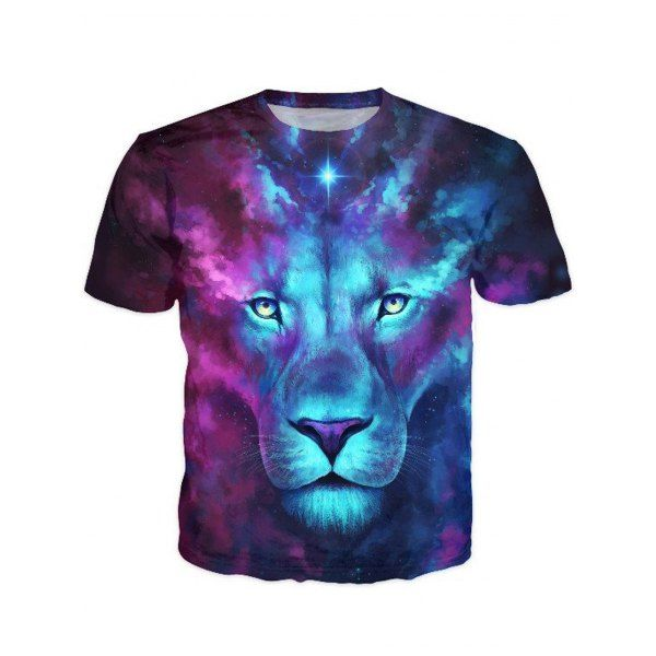 $13.37 Round Neck 3D Color Block Lion Print Short Sleeve Stylish T-Shirt For Men