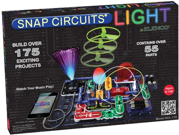 Snap Circuits Lights - iPhone & iPod Activated Electronics Learning Kit Watch and be amazed at what your music can do with the new Snap Circuits Light! Connect your iPhone, iPod or any MP3 player (not included) and enjoy your music as the lights change to the beat. The strobe light with spinning patterns will amaze you with its visual effects. Just follow the colourful pictures in the manual and build over 175 exciting projects. All parts are mounted on plastic modules and snap together…