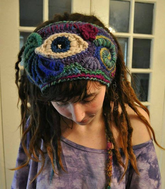 Custom Made Third Eye Freeform Crochet Headband // Wide by OfMars