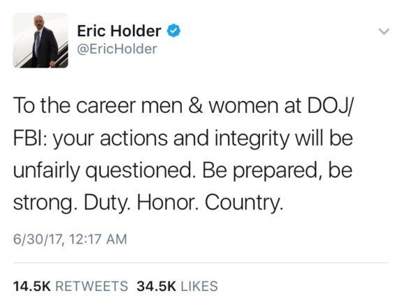 Eric Holder Sends Out Ominous Midnight Tweet to 'Career FBI/DOJ Employees' - https://www.loudread.com/eric-holder-sends-ominous-midnight-tweet-career-fbidoj-employees/