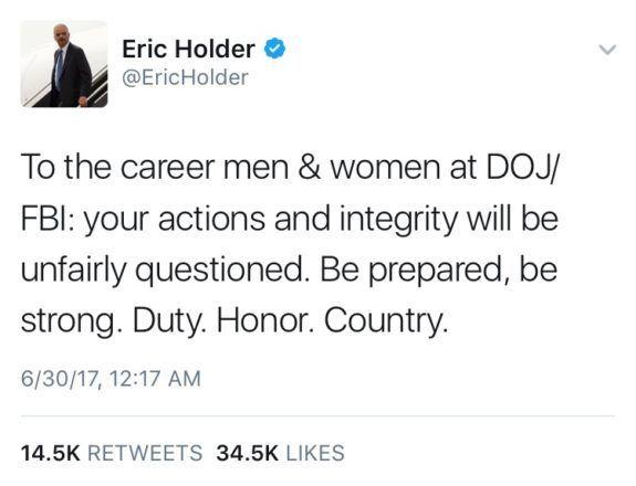 Eric Holder Sends Out Ominous Midnight Tweet to 'Career FBI/DOJ Employees' - https://www.loudread.com/eric-holder-sends-ominous-midnight-tweet-career-fbidoj-employees/