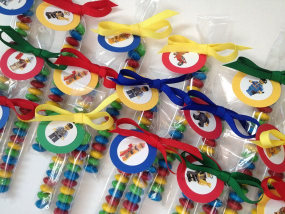 Lego City inspired M & M favors, Set of 8, filled and tied with 2 layer Tags with grosgrain ribbon