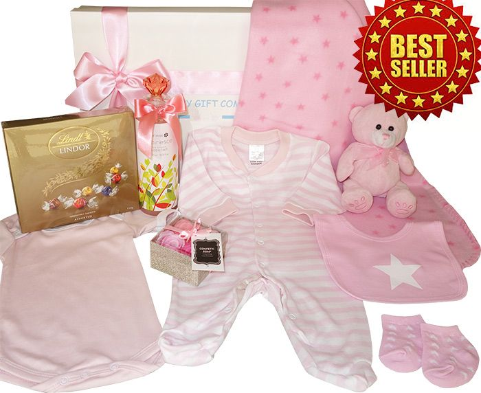 Our Gorgeous Mother & Baby Gift Box is packed full of beautiful baby gifts, pretty baby clothing, pink teddy bear