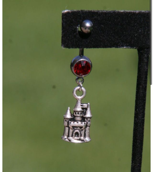 Disney castle belly button ring