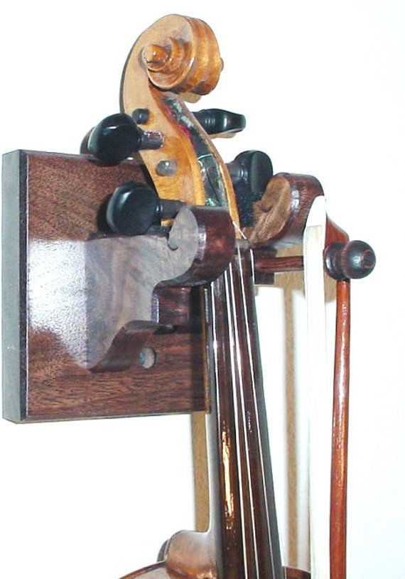 Oak Wooden Violin Amp Bow Hanger Wall Mount Display Music
