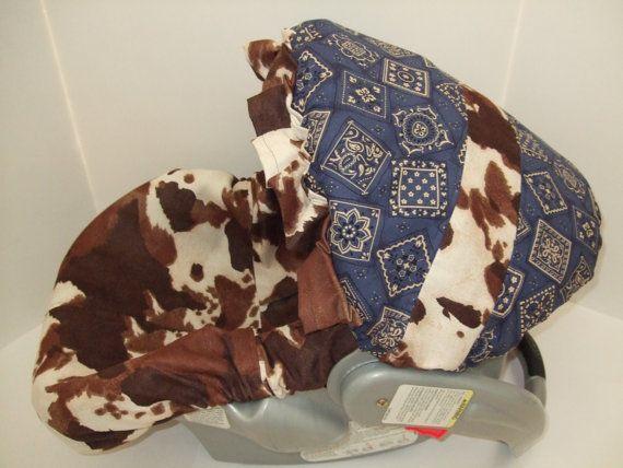 Western cowgirl or cowboy infant car seat slip cover set/cow print & blue bandana fabric via Etsy