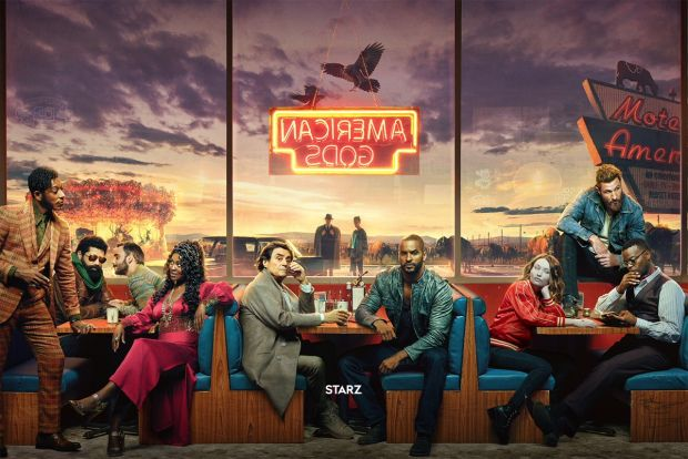 American Gods Shadow And The Deities Hit The Diner In New Season 2 Poster American Gods Starz Tv Series Starz
