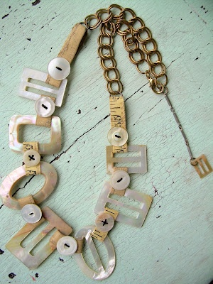Mother of pearl buckle necklace...like the use of the buckle in a necklace. Could use one or several from collection!