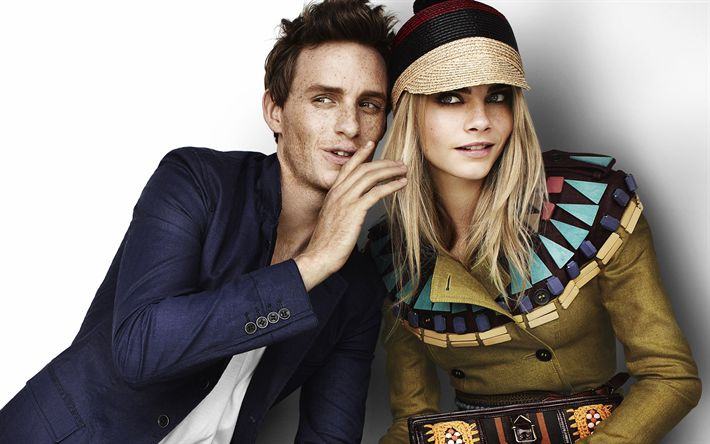 Download wallpapers Eddie Redmayne, Cara Delevingne, British actor, celebrities, British top model, British actress